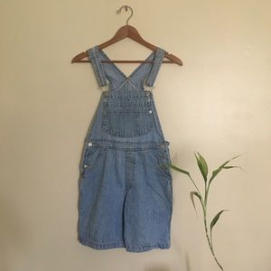 Light wash overall shorts
